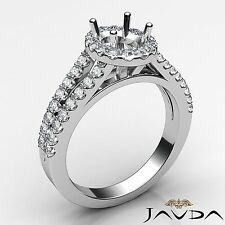 Halo Shared Prong Diamond Engagement Oval Semi Mount 0.75Ct Ring 18k White Gold