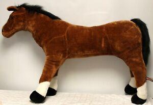 "Melissa & Doug Giant Plush Brown Horse Bendable Ride-on 30"" Tall"