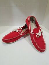 Cole Haan Men's 10 Grand.OS Red Canvas Boat Shoes Moccasin Loafers Tie