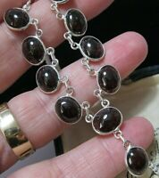 Vintage Style Sterling Silver Natural GARNET Gem Stone Statement Necklace