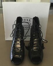 "Original Box  STEVE MADDEN ""Rebecka"" Stiletto Lace Up Black Shoes Size 9.5"