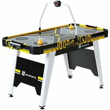 """MD Sports 54"""" Air Hockey Game Table, Overhead Electronic Scorer, Black/Yellow"""
