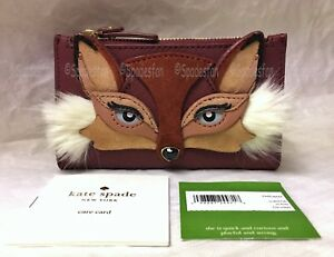 Kate Spade PWRU6644 So Foxy FOX Mikey Small Bifold Wallet Brown Maroon NWT Rare
