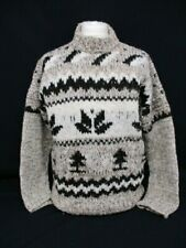 Fairisle Icelandic Sweater, Nordic Hand Knit Jumper, X Large, Brown, 63cm Wide