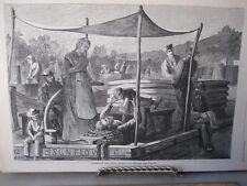 Vintage Print,SUNDAY ON THE CANAL,Harpers,1873
