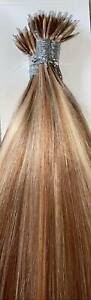 MONGOLIAN DOUBLE DRAWN 16'' NANO TIP 1G HIGHLIGHTED #18/613 HUMANHAIR EXTENSIONS