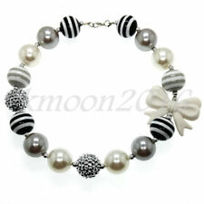 New Sweet White bow Chunky Beads Bubblegum Necklace for Kids Chunky Gumball