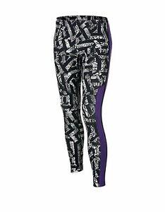 Nike Girls Athletic Leggings (Black/Purple/White) 679093-011 Small