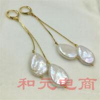 Earbob 13-18MM HUGE baroque south sea pearl earrings DIY 18K gold plating