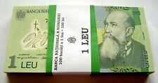 DEALER LOT BUNDLE OF 100 NOTES 1 LEU 2005 ( 2014 ) P117 POLYMER ROMANIA UNC