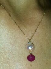 1ct genuine Ruby pink freshwater pearl pendant necklace 14kt 14k solid gold
