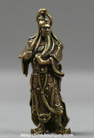 55MM Collect Small Curio Chinese Bronze Guan Gong Yu Warrior God Wealth Pendant