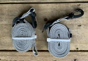 Universal Hi Vis Single Storm Awning Tent Strap Camping Grey Pair x 2 Quest