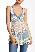 NWT Kersh & Press Ivory Medium Cream Slinky Crochet Tank Lace $62 New Boho Layer
