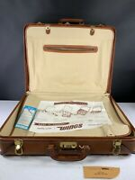 Wings Leather Suitcase 2 Suiter Brown Belted Leather Amazing Vintage New NOS