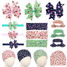 4PCS Baby Girls Floral Bow Knot Headband Cap Rabbit Ears Hair Band Hair Clip Set