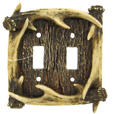 Lodge Rustic Log Cabin Decor Deer Antler double 2 Light Switch Plate Covers
