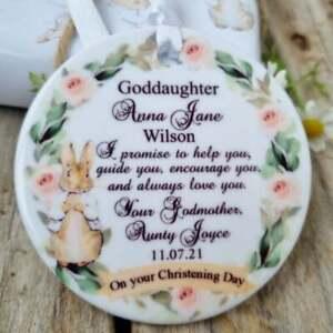 Personalised Peter Rabbit ceramic pendant / baby Baptism Day christening gift