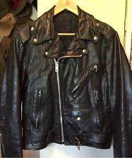 Vintage 70s Biker Genuine Leather Motorcycle Biker Cafe Black Liner Jacket.