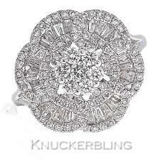 Diamond Flower Cluster Ring 1.15ct Brilliant & Baguette F VS in 18ct White Gold