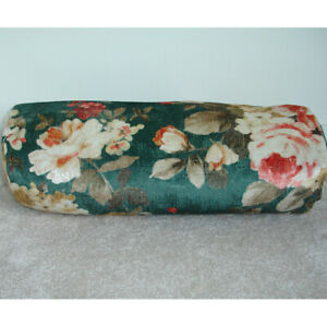 Green Velvet Bolster Cover Floral Flowers Cylinder Cushion Case Round 6x16 Pink