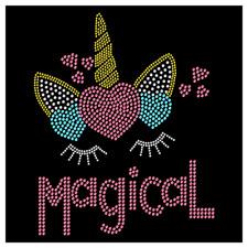 Magical Unicorn Flowers Pre School Girls Rhinestone Hot Fix Iron On Transfer