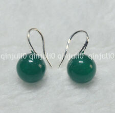 Natural 10mm round Green Beryl gemstone Beads silver Hook Dangle Earrings JE92