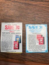 VINTAGE Kellogg's Pop Tart Store COUPONs 1978 Collectible Redeem Lot Of 2