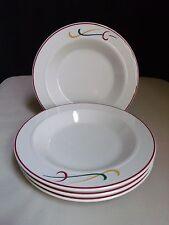 Set 4 Homer Laughlin Soup Bowls Lyrica Restaurant Ware Red Rim Band Swirls Swish