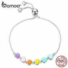 BAMOER Enamel Rainbow heart Charm Bracelet 925 Sterling silver For Women Jewelry