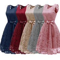 Vintage Women Formal Lace Party Prom Dress Evening Wedding Prom Bridesmaid Dress