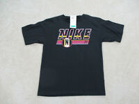 NEW VINTAGE Nike Shirt Adult Small Black Yellow Spell Out Logo Swoosh Mens 90s
