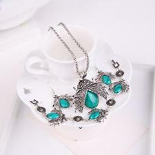 Retro Turquoise Cabochon Flying Insect Earring Necklace Bracelet Jewelry Set