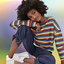 NWT urban outfitters Rainbow Stripe Long-sleeve Oversize Boxy Crop top