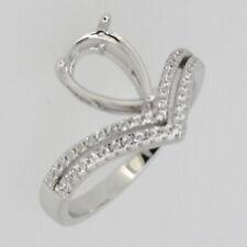 Sterling Silver Semi Mount Earrings Setting Pear PS 7x5mm Drop Dangle W// Topaz