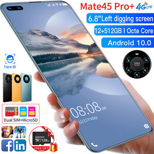 "4G 6.8"" HD Android 10.0 Unlocked Face ID Smartphone 12+512GB&128GB Dual SIM Card"