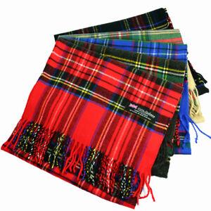 Women Royal Stewart SCOTLAND 100% CASHMERE Scarf Winter Scarves Check Plaid Wool