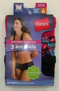 HANES Women's Cotton Stretch Boy Brief Comfort Waistband  3-Pk  Size 6/M  ET49AS