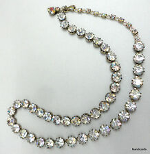 Sherman Necklace AB Rhinestones Prong Set 16in Adj Hook 1950s Major Sparkle Vtg