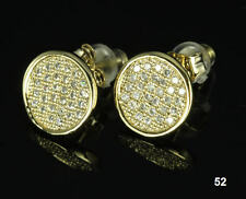 Silver Bling Round Pave Cz Stud Earrings Mens / Ladies 10K Gold Plated Sterling