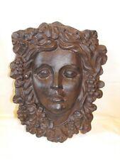 Wine Goddess garden face plaque ~cast iron~ Leaf Green Woman Harvest Grape Vine