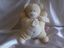 Doudou ours beige, blanc, écharpe rayée, Pommette