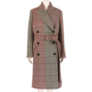 Stella McCartney Runway Collection Red Green Check Houndstooth Coat IT40 UK8