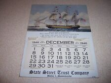 1800s PACKET SHIP LIVERPOOL, STATE STREET TRUST CO. BOSTON MA. CALENDAR CARD