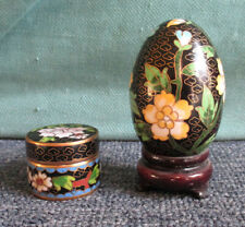 Chinese miniature cloisonne egg & pill box, egg 3 inches tall