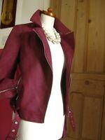 Ladies NEXT faux leather JACKET 10 Tall biker flying aviator bomber fur collar