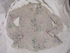 Calvin Klein Beige Multi-Color Long sleeve Button down Silk Shirt Women's M