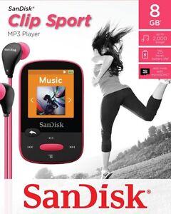 SanDisk Sansa Clip Sport 8 GB MP3 Player FM Radio SD Slot-Pink