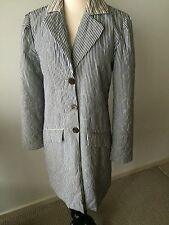 Cynthia Rowley Quilted Blue & White Striped Trench Jacket 100% Cotton Size 6