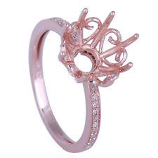 10K Rose Gold Engagement Wedding Genuine Diamonds Ring Semi Mount Round 10-11mm